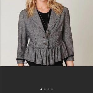Free People Grey Linen Ruffled Jacket S
